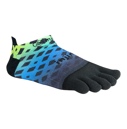 Injinji - Spectrum Run Lightweight No-Show - Abstract Blue Lime